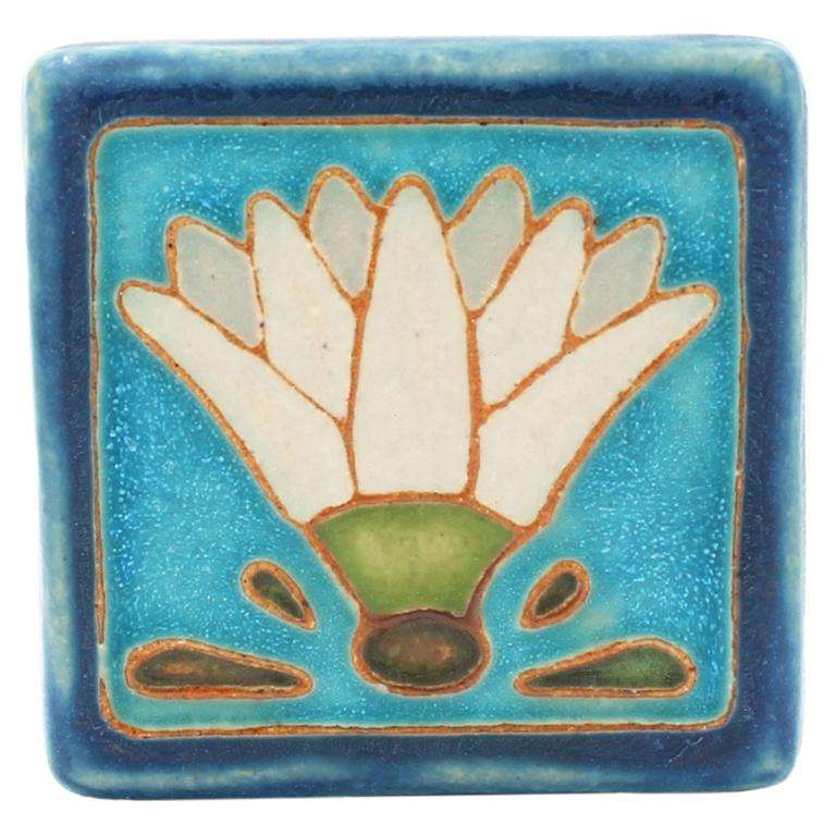 Hand Painted Egyptian Lotus Tile Tile Pewabic Pottery