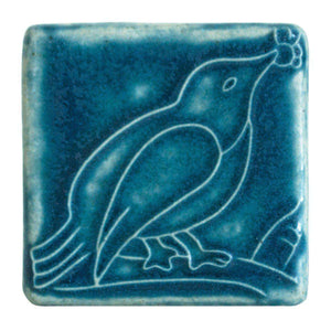 Ceramic Bird with Berries Tile