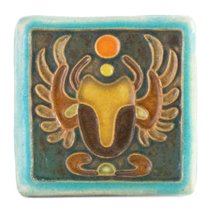 Ceramic Hand-Painted Scarab Tile