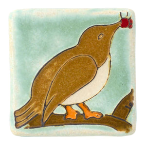 Ceramic Bird with Berries Tile, Hand-Painted