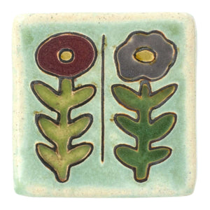 Ceramic Hand-Painted Two Flowers Tile