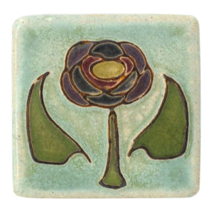 Ceramic Hand-Painted Rose Tile