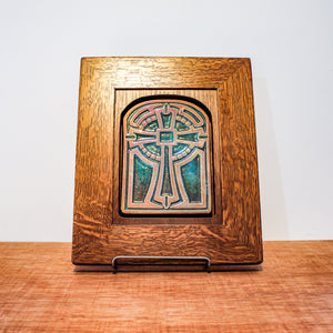 Ceramic Framed Two-Tone Iridescent Cross Tile