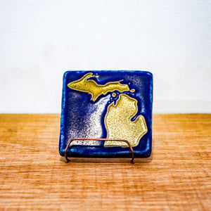 Ceramic Michigan Outline Tile, Hand-Painted
