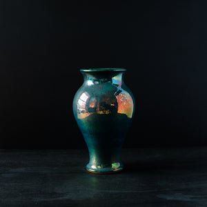 Ceramic Medium Classic Vase | Matte Green Iridescent II