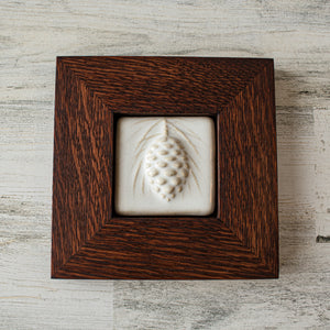 Ceramic Framed Pinecone Tile | 3x3 Alabaster