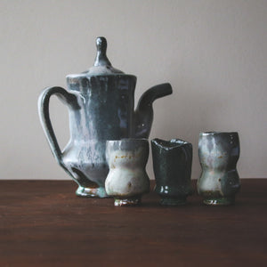 Ceramic Brett Gray | White Teapot + Cup Set