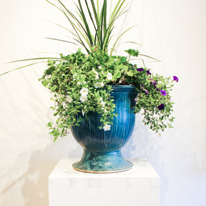 Ceramic Small Garden Urn | Peacock