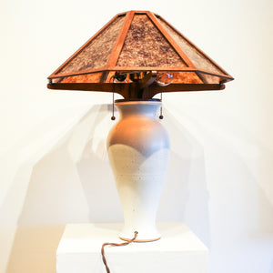 Ceramic XL Classic Lamp with Oak + Mica Shade