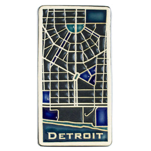 Ceramic Hand-Painted Downtown Detroit Map Tile