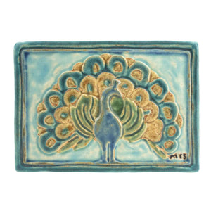Ceramic Hand-Painted Peacock Tile