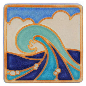 Ceramic Hand-Painted Wave Tile