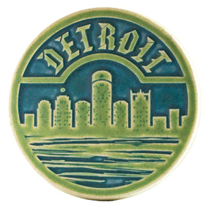 Ceramic Detroit Trivet Tile, Two-Tone
