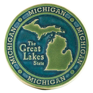 Ceramic Michigan Trivet Tile, Two-Tone