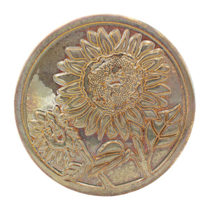 Ceramic Sunflower Trivet Tile, Iridescent