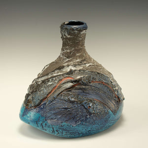 Ceramic Blue Rocker Bottle Vase, 2005