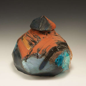 Ceramic Earthy Rock Jar, 1986