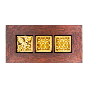 Ceramic Honeybee and Honeycomb Tiles Triptych