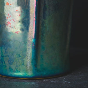 Ceramic Lotus Vase | Matte Green Iridescent III