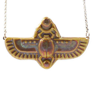 Ceramic Scarab Necklace, Iridescent