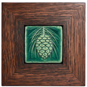 Ceramic Framed 3x3 Pinecone
