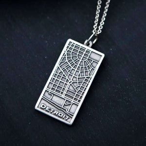 Ceramic Detroit Map Pendant