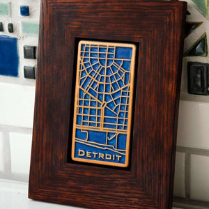 Ceramic Framed Downtown Detroit Map Tile