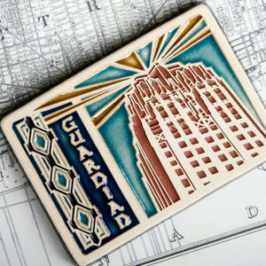 Ceramic Guardian Building Postcard Tile