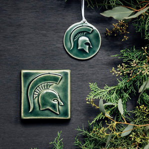 Ceramic Michigan State University Spartan Ornament