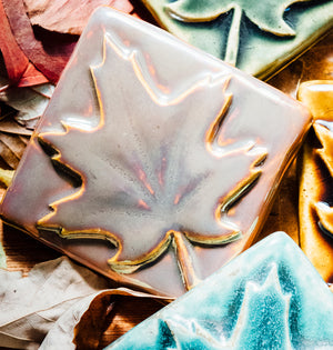 Ceramic 3x3 Maple Leaf Tile, Iridescent