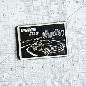 Ceramic Motor City Postcard Tile, Two-Tone