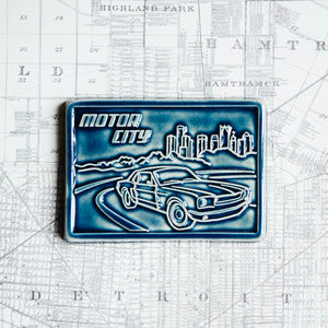 Ceramic Motor City Postcard Tile