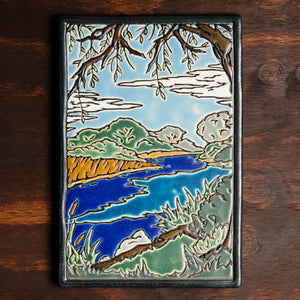 Ceramic Hand-Painted Lake Okonoka Tile
