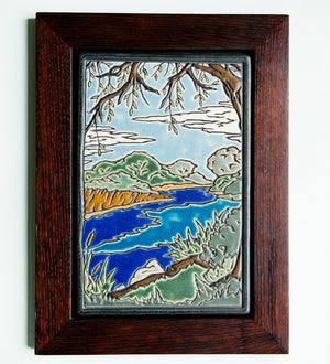 Ceramic Framed Hand-Painted Lake Okonoka Tile