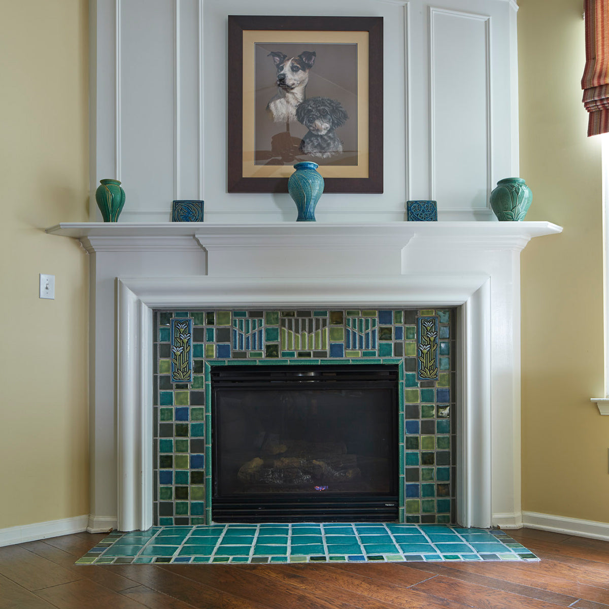 Blended Blue And Green Fireplace Pewabic Pottery