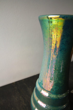 Ceramic Step Vase | Matte Green Iridescent
