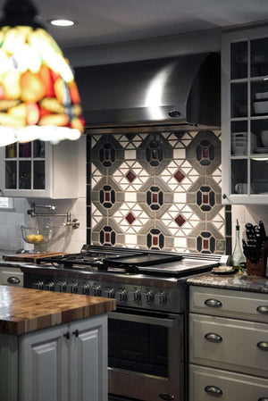 Ceramic Architecturally Inspired Kitchen Backsplash