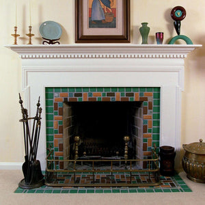 Ceramic Green and Brown Fireplace