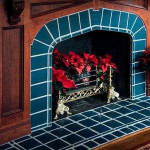Ceramic Traditional Blue Fireplace