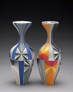 Ceramic Orange Vase and Delphinium Vase