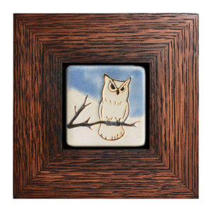 Ceramic Framed Hand-painted Owl Tile