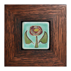 Ceramic Framed Hand-Painted Rose Tile