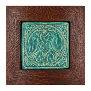 Ceramic Framed 8x8 Lovebirds Tile