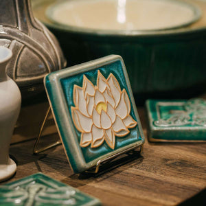 Ceramic Lotus Tile, Hand-Painted