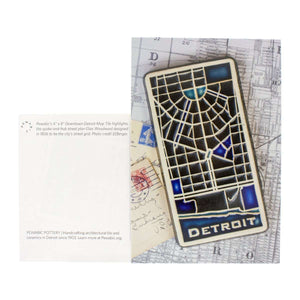 Ceramic Pewabic Downtown Detroit Map Tile Postcard