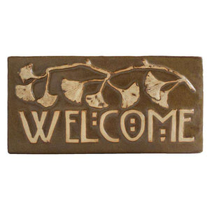 Ceramic Ginkgo Welcome Tile