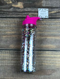 [2 Pack] Bride Squad Glitter Filled Flip Top Sports Water Bottle Bachelorette Party Cup - Vintage Buffalo Sports
