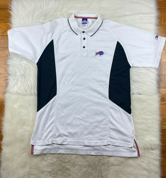 Buffalo Bills Reebok Official Sideline Polo White Men L Vintage Early 2000s Flaw - Vintage Buffalo Sports