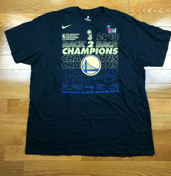 Golden State Warriors Nike 2018 NBA Finals Champions Locker Room Tee Men's 3XL - Vintage Buffalo Sports