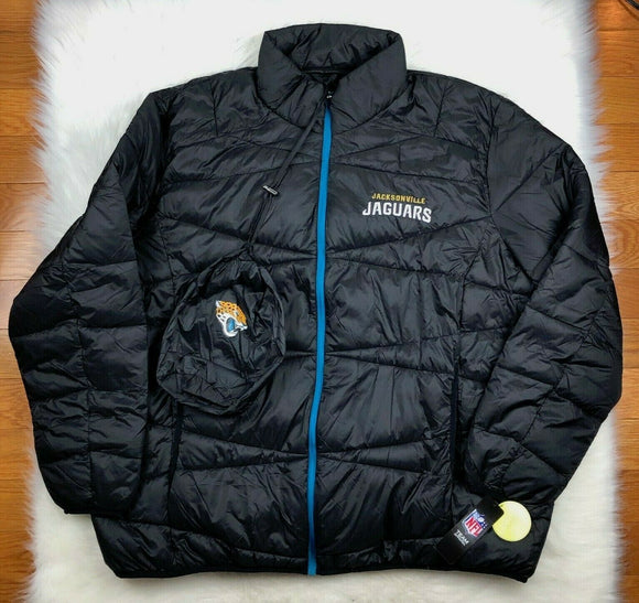 Jacksonville Jaguars NFL Packable Puffer Jacket w Bag, Black, Big & Tall Men 5XL - Vintage Buffalo Sports